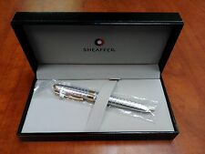 Sheaffer Prelude Signature Silver Plate Snakeskin W/22k Gold Plate -Blue Ink