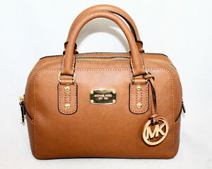 MICHAEL KORS Small Satchel 35S3GSAS1L in Acorn Tan Saffiano Leather Gold Hdwr