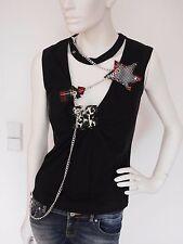 Nuevo Miss Sixty señora opaca, camisa top Tank t-shirt talla S M 36/38 negros luxery