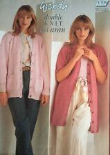 "WENDY DK Or Aran Knitting Pattern Ladies Cardigan Size 30/44"" Chest"