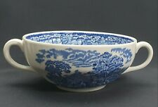 Blue and White Twin Handled Soup Bowls Willow Pattern Style