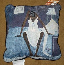 Blue Monday African American Woman Tapestry Pillow ~ Artist, Annie Lee