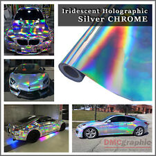 Silver Iridescent Holographic Laser Cut Neon Chrome Chameleon Vehicle Vinyl Wrap