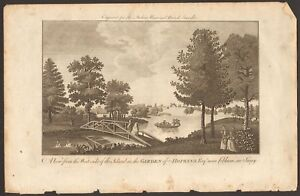 1779 ca ANTIQUE PRINT- SURREY - VIEW FROM WEST SIDE OF ISLAND,GARDEN IN COBHAM
