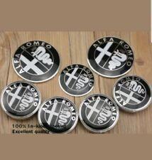 7 Set ALFA ROMEO Steering Wheel Wheel Caps Rear Boot Logo Emblem *Black & White*