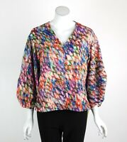 Joseph Ribkoff Top Blouse Tunic V-Neck Button Front Balloon Sleeves Size 8 New