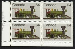 HISTORY = LOCOMOTIVES (1836-1860) = Canada 1983 #1002 LL PLATE Block of 4 MNH