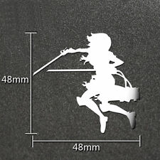 Attack on Titan Mikasa Cosplay Anime 3D Metal Stickers Phone Laptop Cars Silver