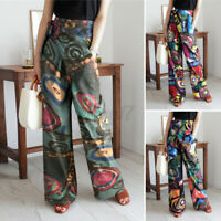 New Ladies Women High Waist Cotton Trousers Floral Long Straight Pants Size 8-26