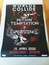 Within Temptation Evanescence Worlds Collide 2020 Concert Poster Munchen-Zenith