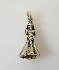 .925 Sterling Silver BRIDE CHARM Pendant Wedding Gown Dres Marriage NEW 925 WD05