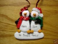 Personalized Penguin Couple Christmas Ornament
