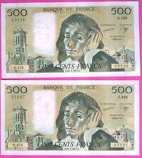 FRANCE UNE PAIRE de 500 FRANCS PASCAL  DATE 22-1-1987  FAYETTE 71 n°36 ETAT NEUF