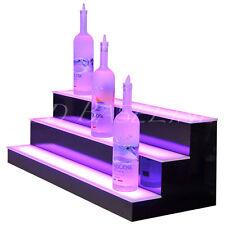 32 Led Lighted 3 Tierstep Back Bar Liquor Bottle Shelf Black Bars Home Display