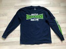 Blaues Herren Langarm Shirt von Majestic in Gr. L, Seattle Seahawks