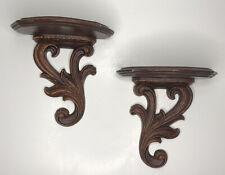 Vintage Pair of Syroco Wood Syracuse Ornamental Co Brown Plate Holder Shelves