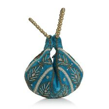 Turquoise Velvet Embroidered Leaf Pattern Potlitune Cookie Bag for Women Ladies
