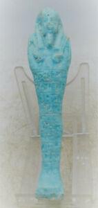 ANCIENT EGYPTIAN BLUE FAIENCE USHABTI SHABTI WITH HEIROGLYPHICS