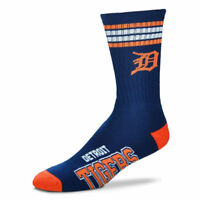 Detroit Tigers For Bare Feet MLB 4 Stripe Deuce Crew Socks SZ Large