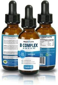 MAXX LABS B Complex Liquid B12 Sublingual Vitamin Healthy Hair Skin Nails 2oz