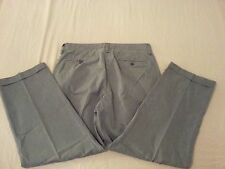 Mens Gap Khaki Pants 35x32 Gray Stripes Cotton Dress 36x29 Slack Trouser Khaki