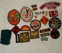 VTG 70's Boy Scouts (BSA) Lot of 28pc Badges Patches Service Pins Used Award Cub