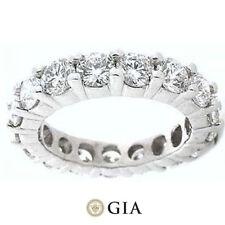 5.62 ct Round Diamond Ring Platinum Eternity Band E-F Vs Gia Size 7 0.40 ct each