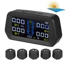 Tpms Tire Pressure Monitoring System Solar Powered With 5 External Sensor 6