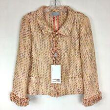 NWT MISSONI Pink Cream Tweed Blazer Jacket With Frayed Edges NWT Sz 46/10 US