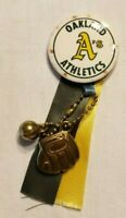 Vintage Oakland A's MLB Pinback Button With Ribbon And Ball/Glove Charms