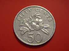 Singapore 50 Cents, 1989,Yellow Allamanda plant