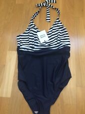 NEW LARGE Mamalicious Women's Swimsuit Maternity Black Stripe Halterneck Woman