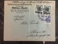 1938 Vienna Austria Germany Mixed Franking Commercial Cover