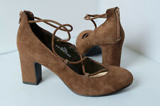 M&S Court Shoes Wider Fit Khaki Suede Block Heel Zip at Back Insolia Micro-Fresh