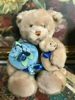 Gund Faux Mink Mother Bear with Baby Beige 17 inch Blue Velvet Box #45908
