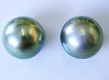 15.9mm!! PAIR TAHITIAN BLACK PEARLS 100% UNTREATED UNDRILLED +CERT AVAILABLE