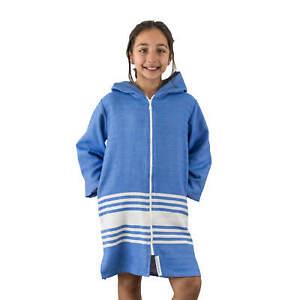 TASSOS Kids Hooded Turkish Towel Zip/Pockets   Unisex: Royal Blue/White