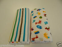 2 Baby Animals and Stripes on White Duo Burp Cloth Toweling Back
