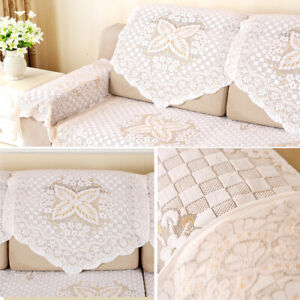 4 Pieces Lace Sofa Throw Cover 25 x 29 inch Sofa Loverseat Protector Slipcovers