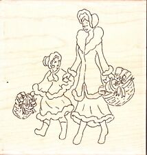 VINTAGE CHRISTMAS SHOPPING FQ215 - Wood Mounted Rubber Stamp Personal Impression