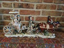 Vintage Capodimonte Horse Driven Royal Coach, large size