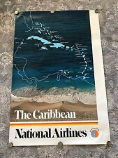 Vintage 1980s Pan Am National Airlines Caribbean Travel Poster