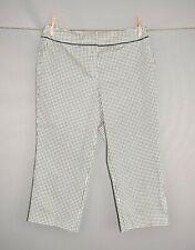 TALBOTS NEW $68 Black White Weave Print Cropped Capri Pant Size 10P