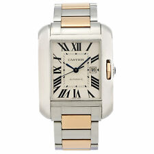 Cartier Tank Anglaise Steel 18K Gold Silver Dial Ladies Automatic Watch W5310037