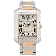 Cartier Tank inglés Acero 18K Oro Plata Cuadrante Reloj automático señoras W5310037