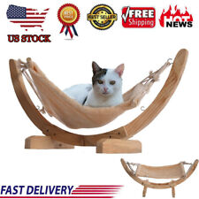 1 Set Wood Cat Hammock Soft Plush Cat Bed Attractive And Sturdy Perch Us Stock