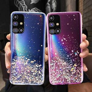 For Samsung A21S S21 S20 FE A32 A12 A52 A72 5G Glitter Clear Silicone Case Cover