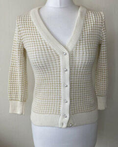 Zara Knit Cream & Gold V-neck Cardigan Size S Pearl Buttons 3/4 Sleeves