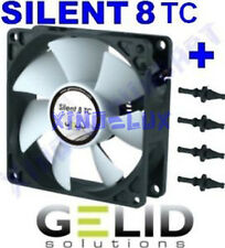 VENTOLA SILENZIOSA per CASE PC 80mm GELID SILENT TC 8 FAN 80 3 PIN + GOMMINI 12V