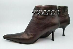 Donald J. Pliner Couture Bronze Ankle Chain Bootie Pump Heels Women 8.5M Strato